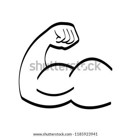Arm with big muscles like bodybuilders have black and white vector illustration