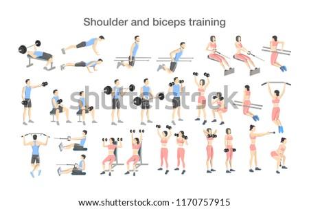Arm workout for men and women with dumbbell and barbell set. Sport exercise for muscle building. Fitness training. Isolated vector illustration