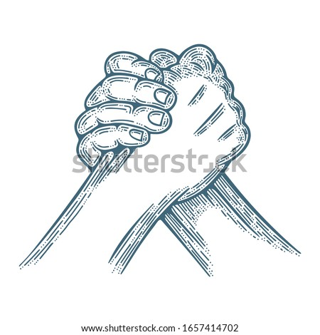 Arm wrestling. Arm wrestling engraving style vector illustration. Part of set.