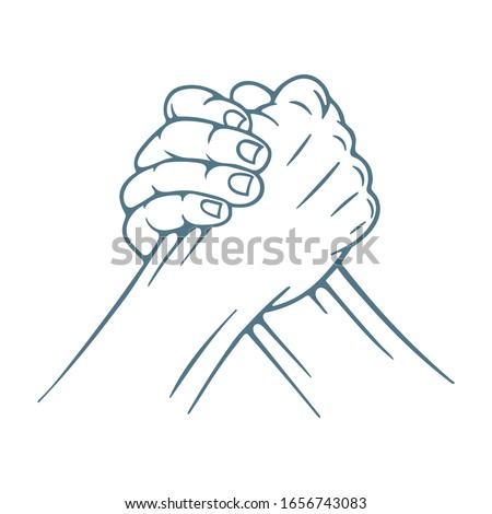 Arm wrestling. Arm wrestling hand drawn vector illustration. Part of set.
