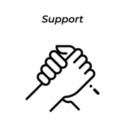 Arm wrestling or support icon vector. Premium quality. White background. Web design and mobile design.Arm wrestling or support sign icon. Arm wrestling or support element.