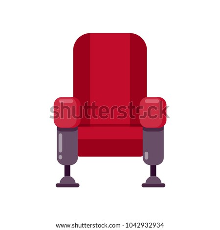 Armchair icon. Cinema icon in flat style isolated on white. Vector illustration.