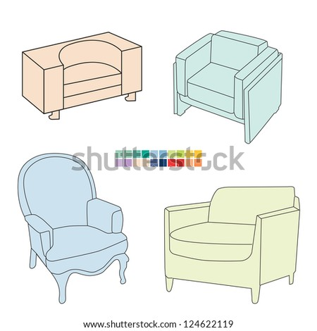 Armchair set for interior design, vector 10 EPS