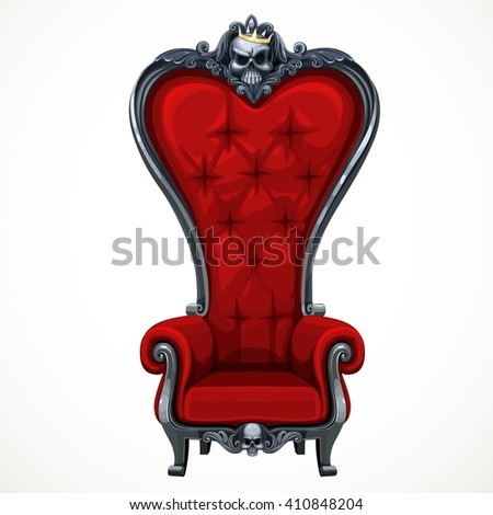 Armchair upholstered in red and high-backed baroque isolated on white background. Throne for the dark Lord or vampire