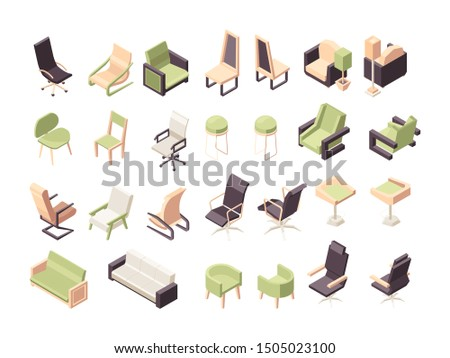 Armchairs isometric. Office furniture modern low poly chairs collection vector 3d objects isolated