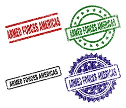 ARMED FORCES AMERICAS seal prints with damaged surface. Black, green,red,blue vector rubber prints of ARMED FORCES AMERICAS caption with unclean surface. Rubber seals with round, rectangle,