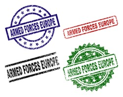 ARMED FORCES EUROPE seal imprints with corroded style. Black, green,red,blue vector rubber prints of ARMED FORCES EUROPE caption with scratched style. Rubber seals with circle, rectangle,