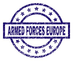 ARMED FORCES EUROPE seal print with dirty style. Designed with rectangle, circles and stars. Blue vector rubber print of ARMED FORCES EUROPE label with dirty texture.