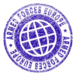 ARMED FORCES EUROPE stamp imprint with grunge texture. Blue vector rubber seal imprint of ARMED FORCES EUROPE text with scratched texture. Seal has words arranged by circle and globe symbol.