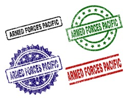 ARMED FORCES PACIFIC seal prints with corroded surface. Black, green,red,blue vector rubber prints of ARMED FORCES PACIFIC tag with dust surface. Rubber seals with circle, rectangle, medal shapes.