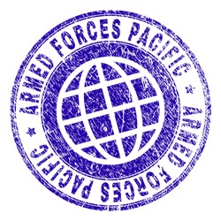 ARMED FORCES PACIFIC stamp print with grunge effect. Blue vector rubber seal print of ARMED FORCES PACIFIC tag with unclean texture. Seal has words placed by circle and planet symbol.