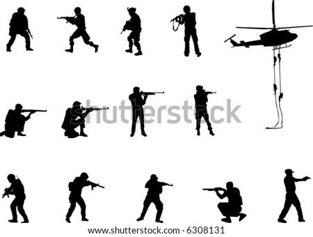 armed men silhouettes - stock vector