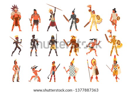 Armed native people of African tribes, Australian and American aboriginal set, tribe members in traditional clothing vector Illustrations on a white background