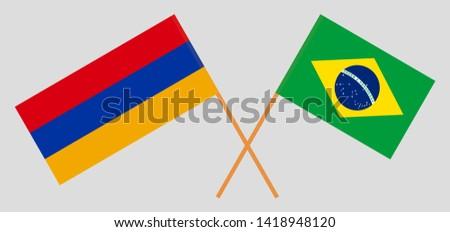 Armenia and Brazil. Crossed Armenian and Brazilian flags