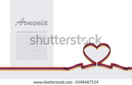 armenia flag and love ribbon