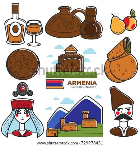 Armenia tourism travel landmarks and Armenian famous symbols vector icons set