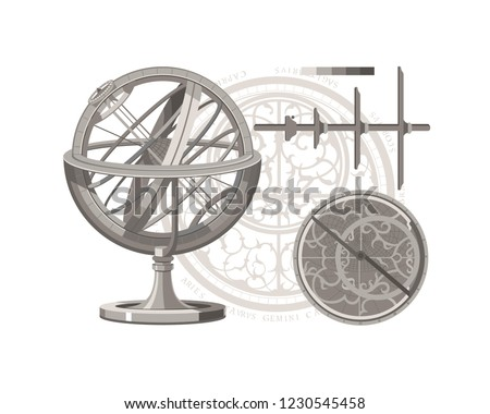 Armillary sphere. Astrolabe. Jacob's Staff. Astronomy. Navigation. Vintage tools.