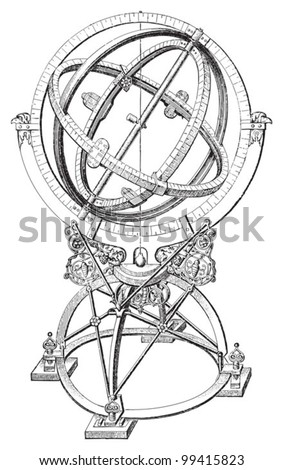 Armillary sphere / vintage illustration from Meyers Konversations-Lexikon 1897