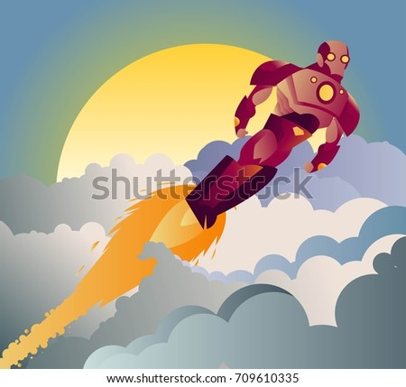 armored robot superhero flying