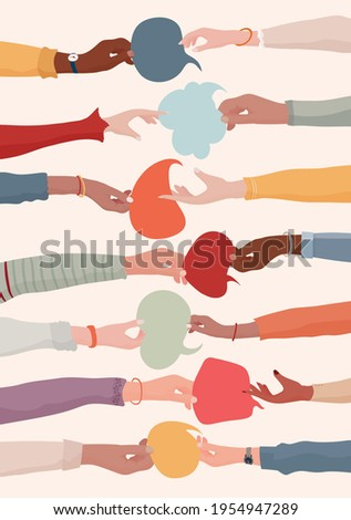 arms and hands holding speech
