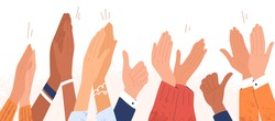 Arms of diverse people applauding vector illustration. Colorful man and woman clapping hands isolated on white background. Multinational audience demonstrate greeting, ovation or cheering gesture