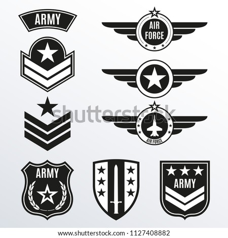 Army and military badge set. Air force emblem with wings and star. Military patch collection. Vector illustration.