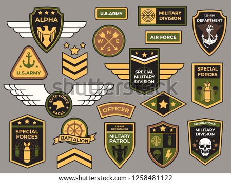 Army badges. Military patch, air force captain sign and paratrooper insignia badge. Airforce squadron bird tag or aviation crest patch. Airborne soldier vector patches isolated symbols set