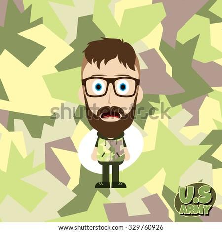 army camouflage cartoon guy