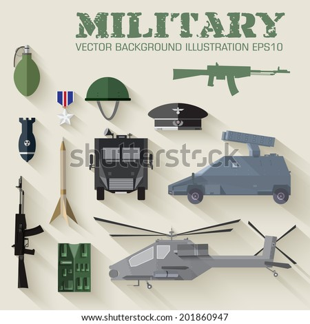 Army concept of military equipment flat icons background vector illustration design