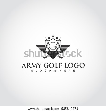 Army Golf club logo for golf tournaments, organizations and country clubs. vector illustrator eps.10
