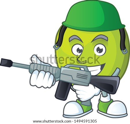Army granny smith in a green apple character mascot