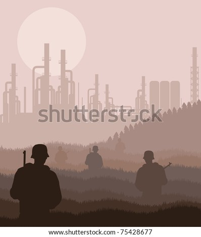 Army guarded oil refinery station illustration