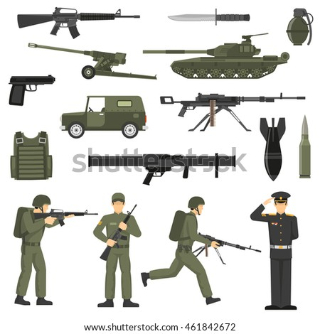 army icons collection with
