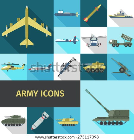 army icons flat set with