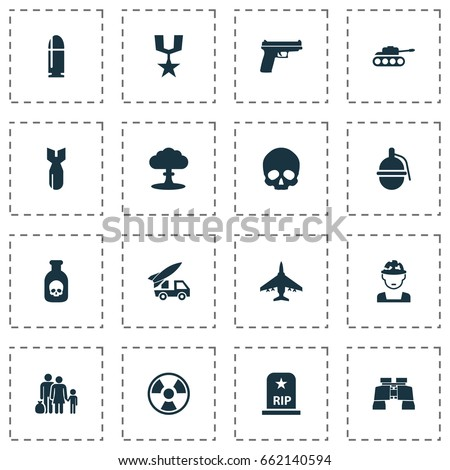army icons set collection of