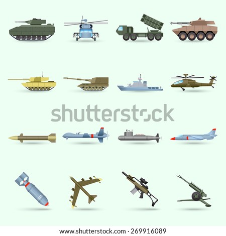 army icons set with tank