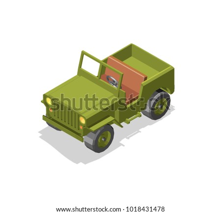 army jeep model 3D low poly green protective color reliable  vehicle high throughput games isometry
