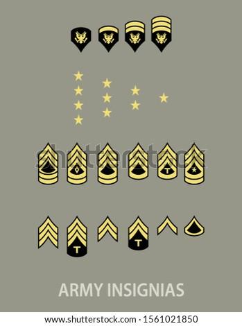 Army military insignia rank set