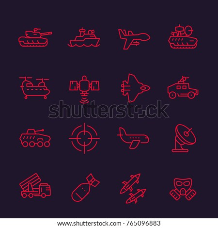 army  military line icons set