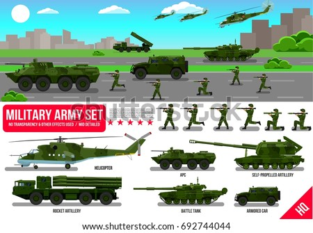 army military set with tank