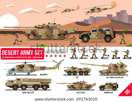 Army military war set with tank, rocket artillery, helicopter, troopers soldiers, armored car, armored carrier, in desert camouflage & battle scene in desert, flat design in vector collection