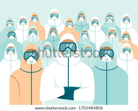army of doctors wearing full