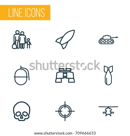 army outline icons set