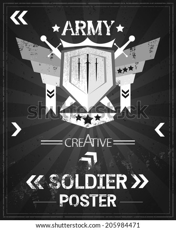 army poster retro blackboard