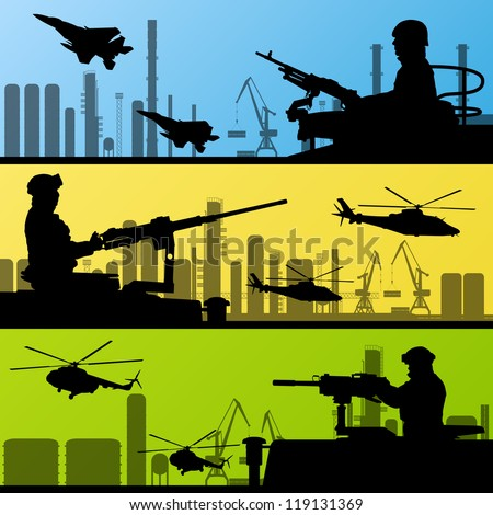 Army soldiers, planes, helicopters, guns and transportation in urban industrial factory landscape background illustration vector