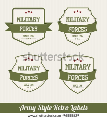 Army Style Retro Labels - stock vector