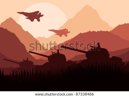 army tanks and airplanes in