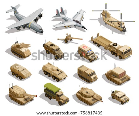 army transport isometric icons
