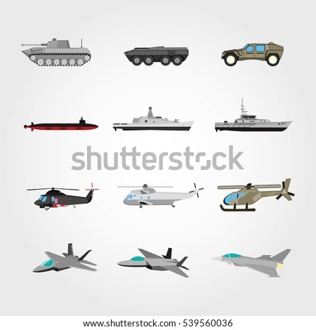 army vehicle icon set