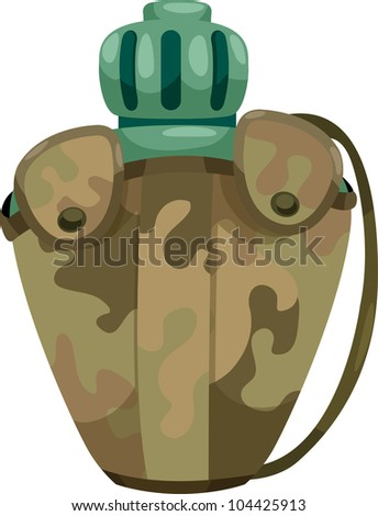 army water canteen isolated on a white background - stock vector